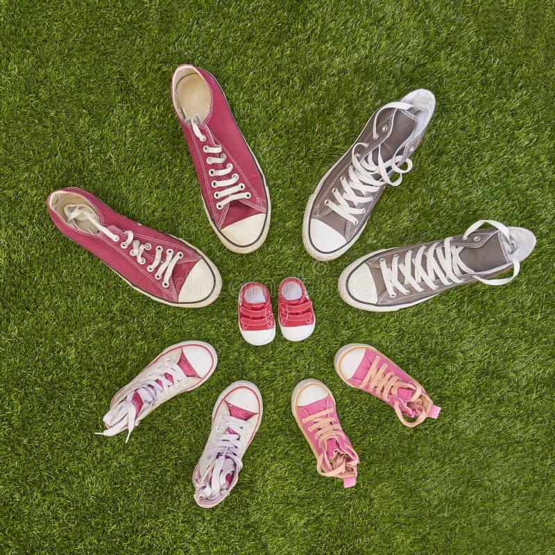 与运动鞋的怀孕公告 免版税库存图片