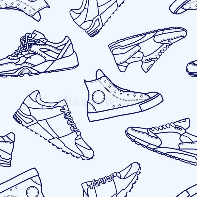 与运动鞋鞋子平的线冲程的无缝的样式 库存例证