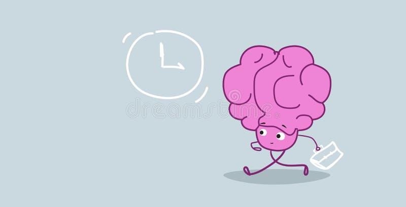与运行到业务会议最后期限概念桃红色卡通人物kawaii样式的公文包的担心的人脑 向量例证