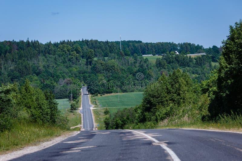 与运行在凹陷下的涂柏油的路的夏天风景 免版税库存照片