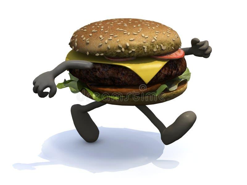 与运行的胳膊和的腿的汉堡  库存例证