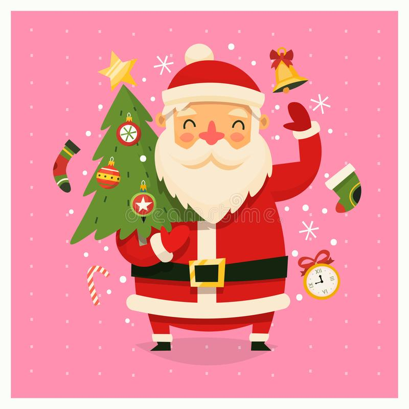 与运载装饰的树的圣诞老人项目的圣诞卡片 库存例证