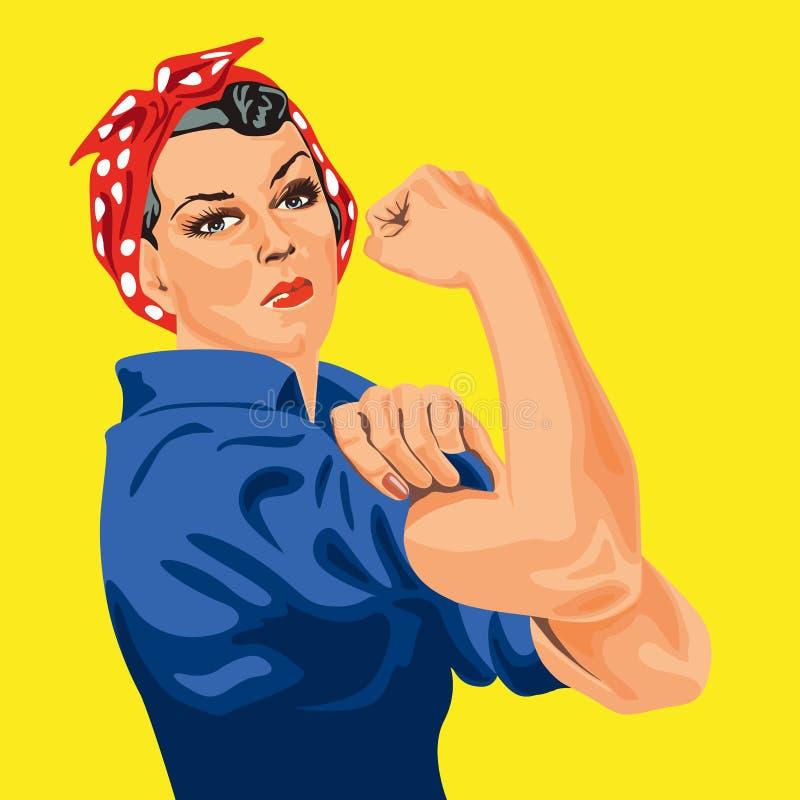与这名著名妇女的女权标志有白色小点的红色围巾的,滚动她的袖子参加战争努力 向量例证