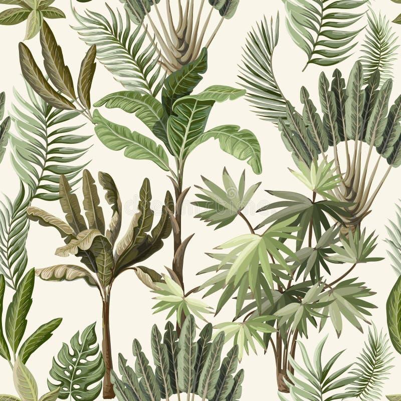 与这样异乎寻常的树的无缝的样式我们棕榈和香蕉 内部葡萄酒墙纸 向量例证