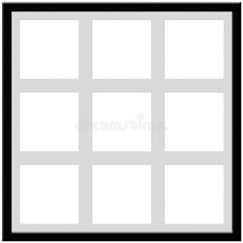 与进入九张照片的空间的黑框架 免版税库存图片