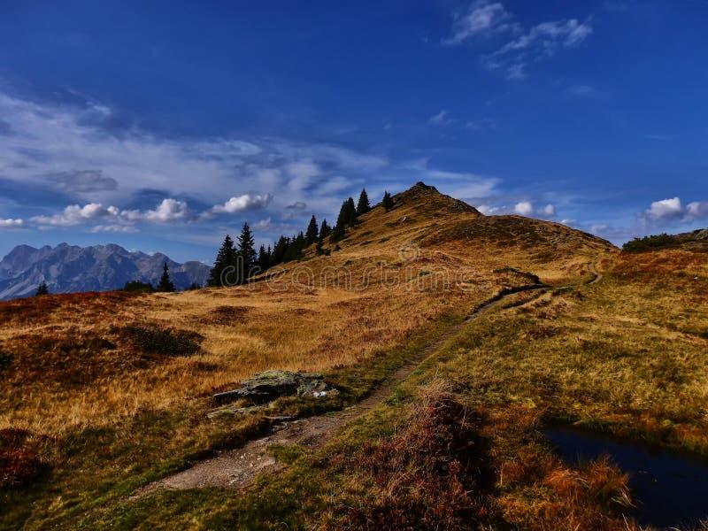 与远足道路的高处风景山风景 免版税图库摄影