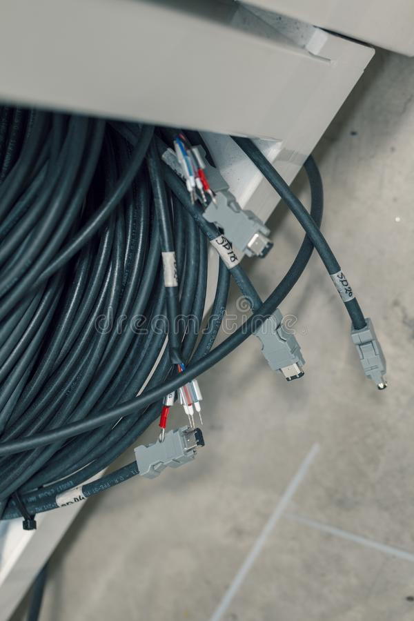 与连接器的工业电缆 库存照片