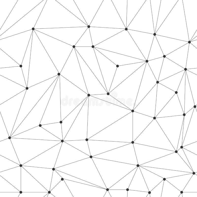 与连接点纹理的不规则的三角栅格 现代几何无缝的传染媒介样式 免版税图库摄影