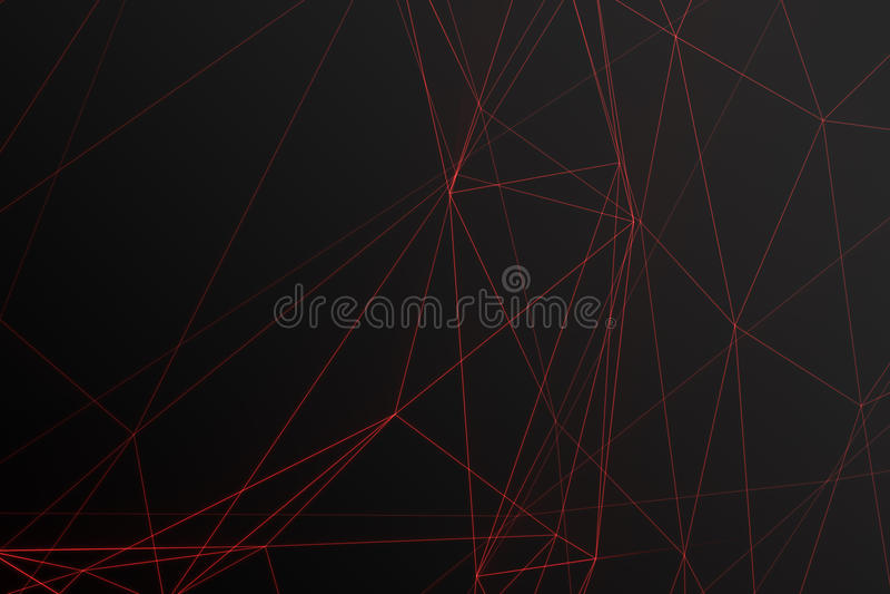 与连接的小点和线的抽象多角形低空间多黑暗的背景 连接结构,亮光作用 图库摄影
