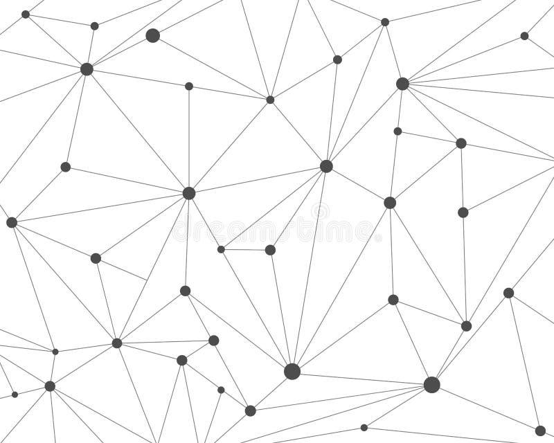 与连接的小点的抽象多角形技术网络背景 皇族释放例证