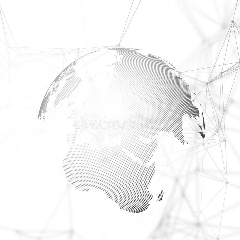 与连接线和小点,多角形线性纹理的抽象未来派背景 在白色的世界地球 全球 皇族释放例证