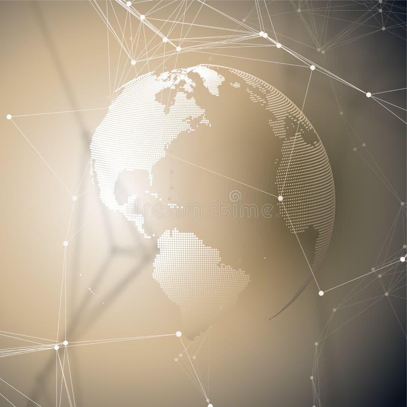 与连接线和小点,多角形线性纹理的抽象未来派背景 另外地球例证向量查看世界 全球网络 向量例证