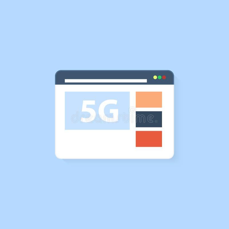 与连接5G高速互联网的浏览器白色背景的 向量例证