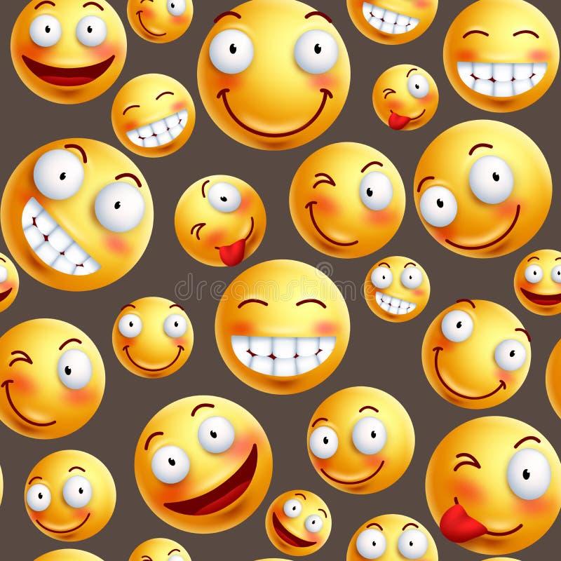 与连续或无缝的愉快的表情的兴高采烈的样式传染媒介背景 向量例证