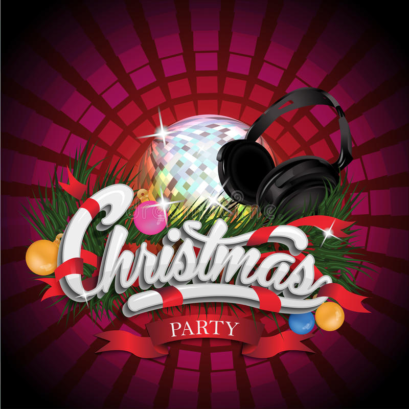 与迪斯科球的圣诞晚会设计和 皇族释放例证