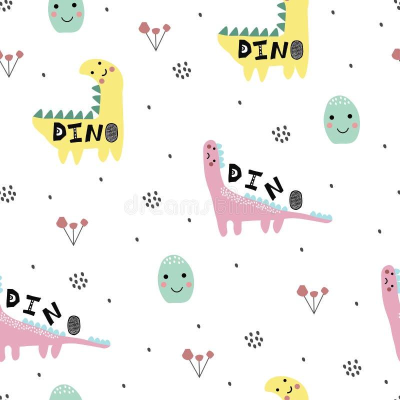 与迪诺,恐龙的抽象幼稚样式 托儿所样式 孩子例证 库存例证