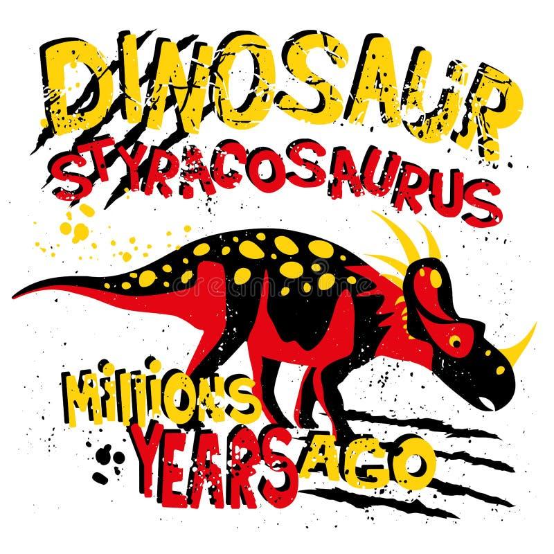 与迪诺Styranosaurus的普遍的现代样式印刷品T恤杉、纸、纺织品和织品的 与恐龙的背景男孩的 向量例证