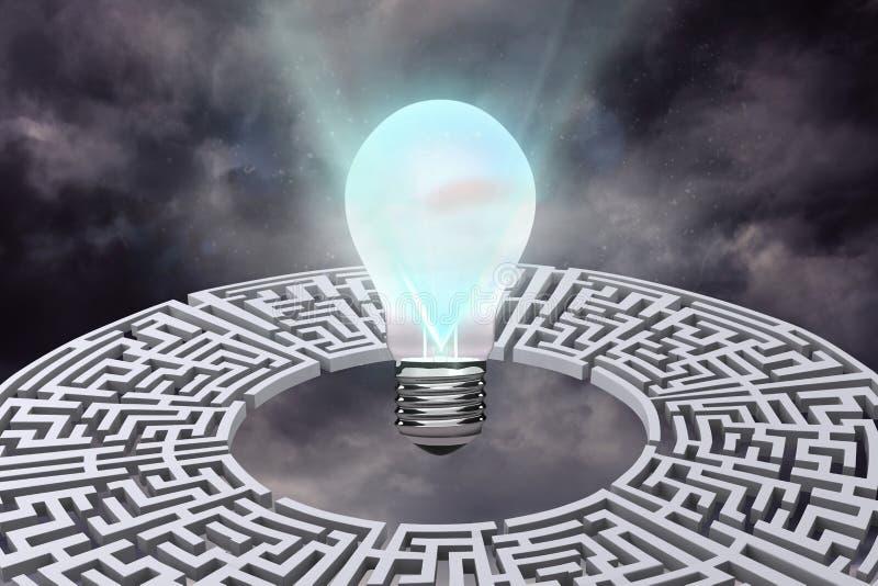 与迷宫图表的电灯泡 免版税库存图片