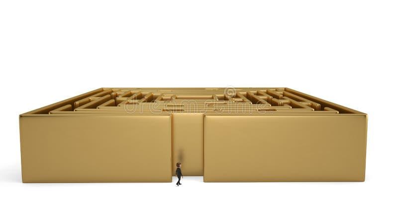与迷宫成功挑战概念的商人 3d illustrati 皇族释放例证