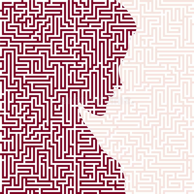 与迷宫或迷宫纹理的忧郁的妇女剪影 ?? 库存例证