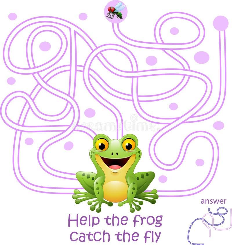 与迷宫比赛的卡片,帮助青蛙捉住飞行 皇族释放例证