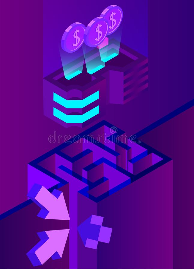 与迷宫的紫色企业3d背景 库存例证
