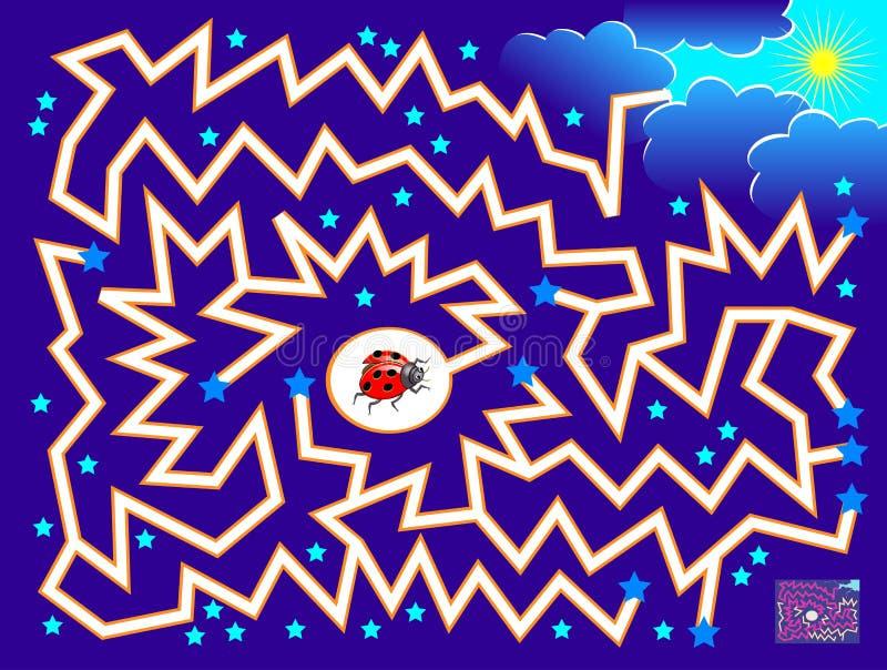 与迷宫的逻辑难题比赛孩子和成人的 帮助瓢虫发现直到太阳的方式 库存例证