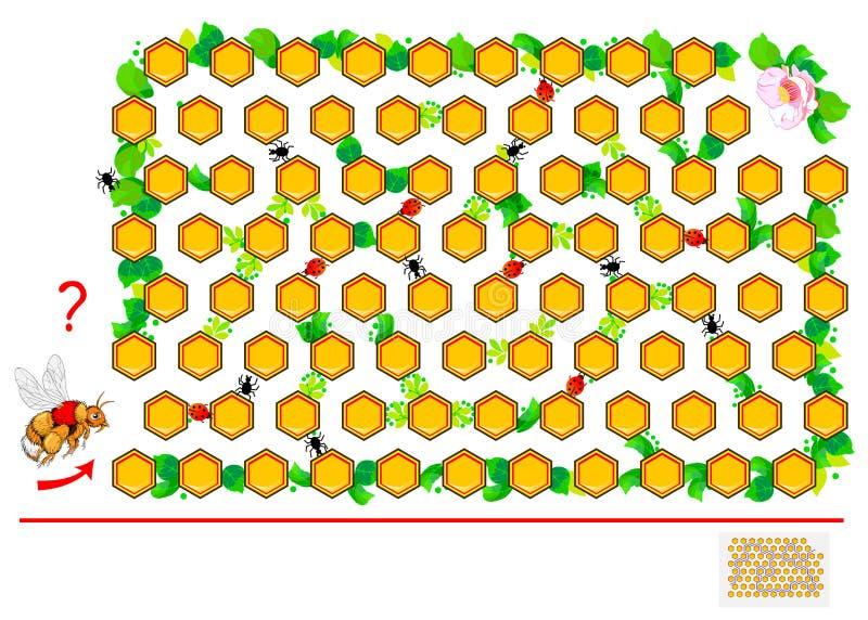 与迷宫的逻辑难题比赛孩子和成人的 帮助蜂发现在蜂窝之间的方式直到花 皇族释放例证
