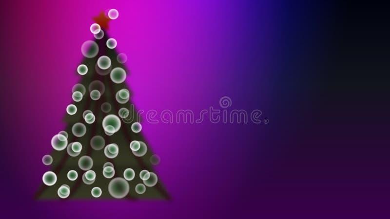 与迷离作用的绿色美丽的欢乐圣诞树与新年摘要背景的鲱鱼和bokeh作用球 皇族释放例证