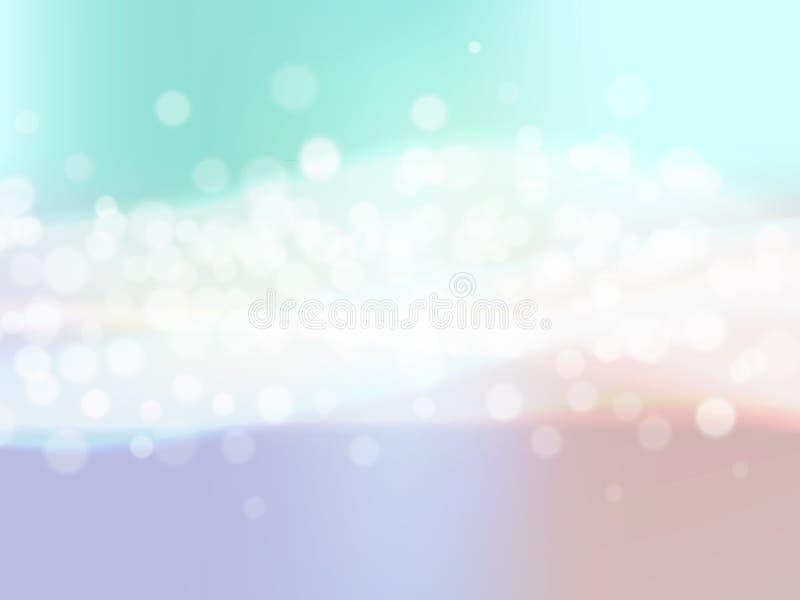 与迷离bokeh光线影响和波浪的抽象五颜六色的背景 也corel凹道例证向量 皇族释放例证