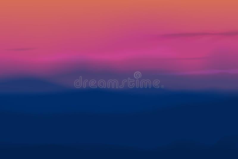 与迷离行动天空、云彩和山的抽象传染媒介日落背景 皇族释放例证