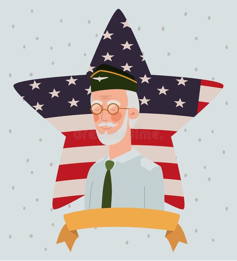 与退伍军人的阵亡将士纪念日卡片和在星的美国旗子 库存例证