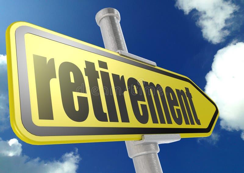 与退休词的黄色路标在蓝天下 库存例证