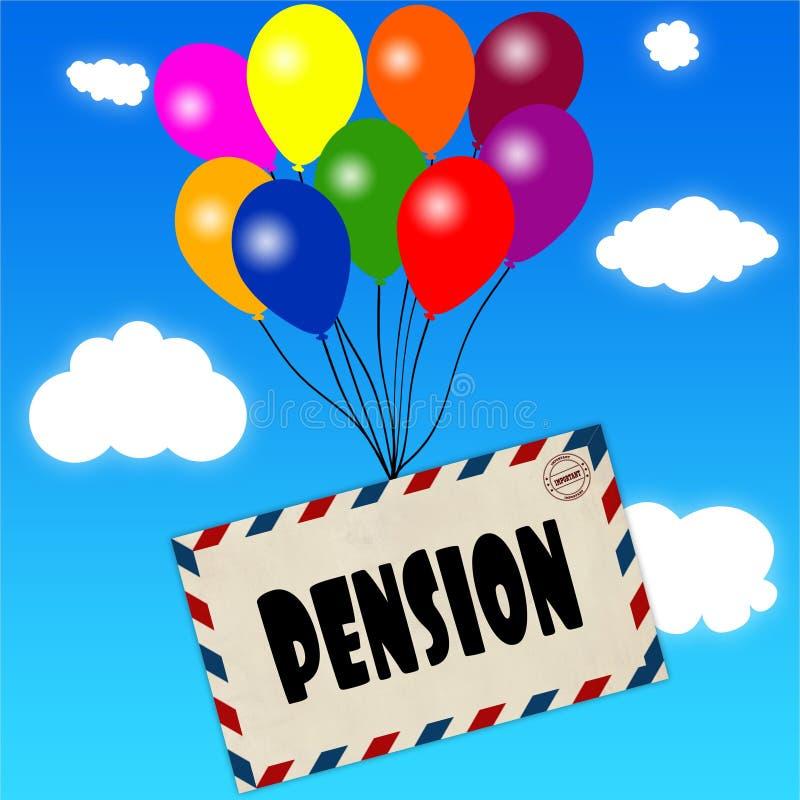 与退休金消息的信封附有了在蓝天的多彩多姿的气球并且覆盖背景 库存例证