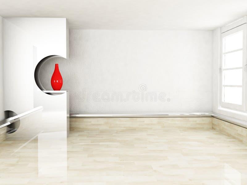 与适当位置和花瓶的室内设计场面 皇族释放例证