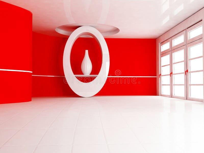 与适当位置和花瓶的室内设计场面 向量例证