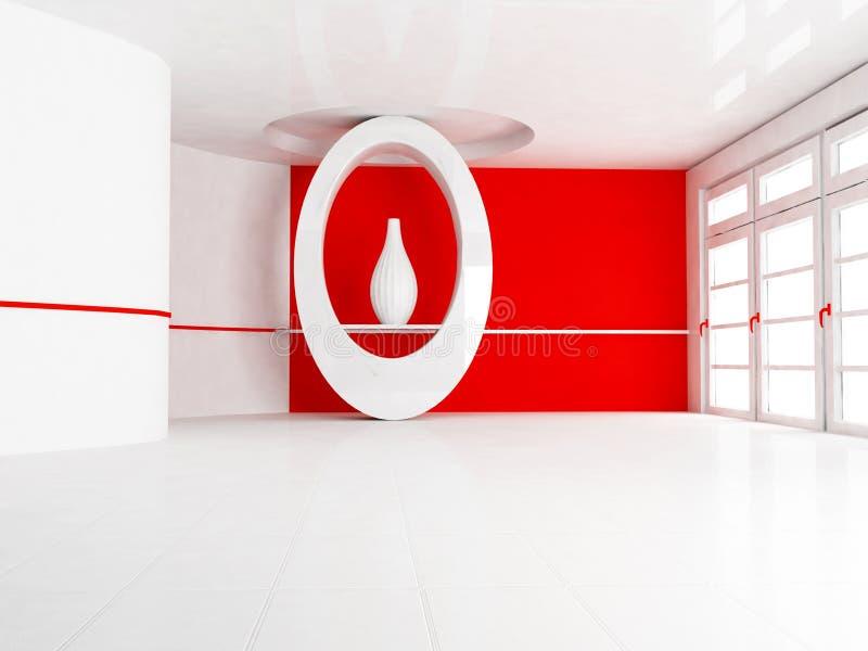 与适当位置和花瓶的室内设计场面 库存例证