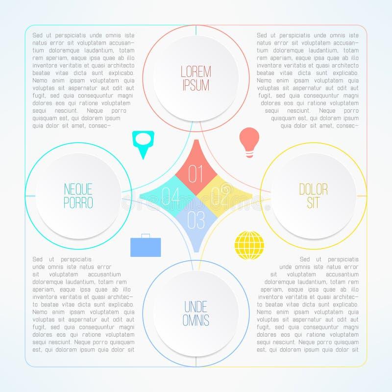 与适当的圈子的传染媒介infographic模板 向量例证