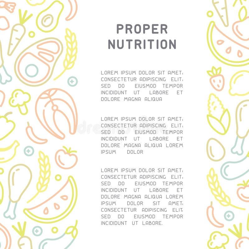 与适当的营养信息和食物元素的招贴 皇族释放例证