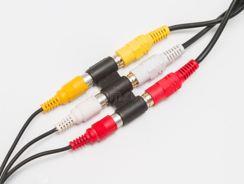 与适配器的音频和录影电缆接线 免版税图库摄影