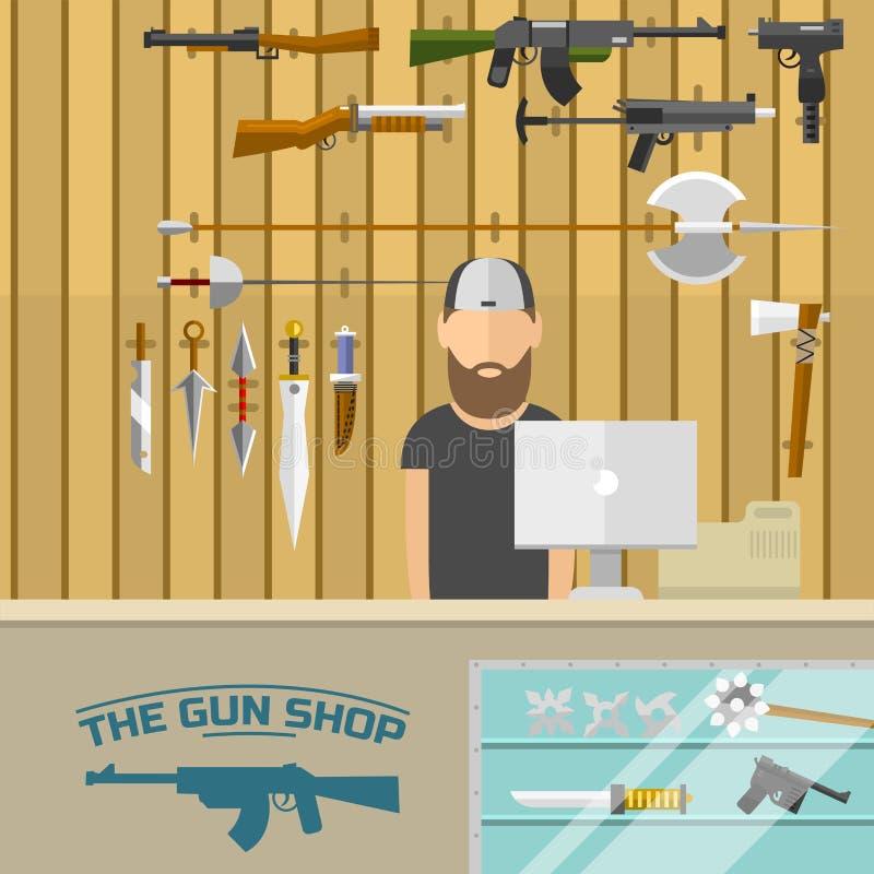 与选择枪和射击在充电的人的武器横幅导航例证 皇族释放例证