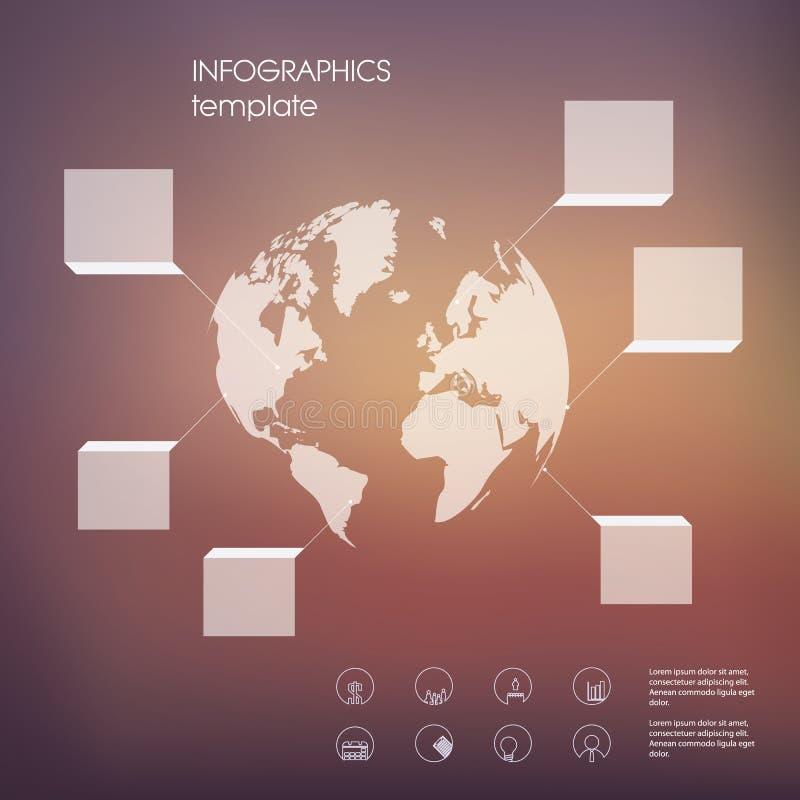 与透明元素的白色infographic模板和套企业介绍的象 皇族释放例证