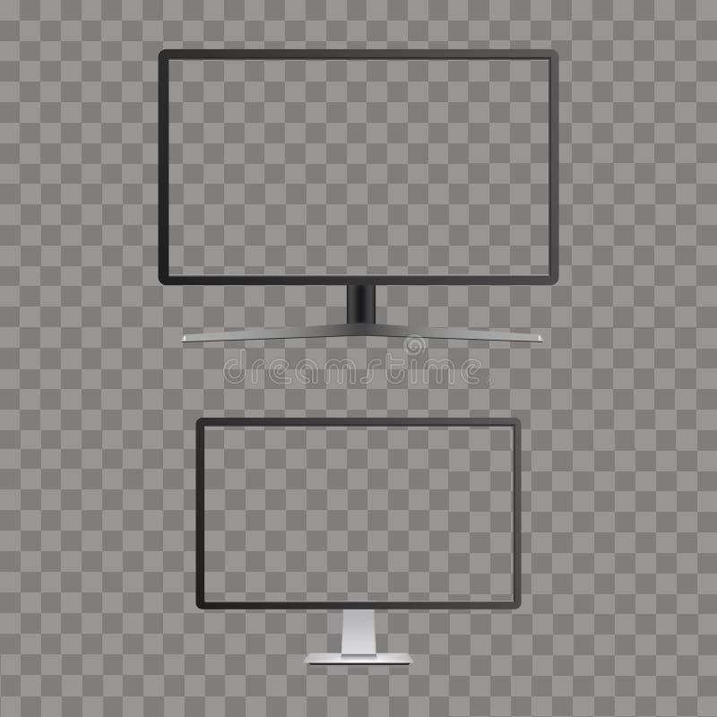 与透明屏幕的现实弯曲的电视显示器大模型 向量 库存例证