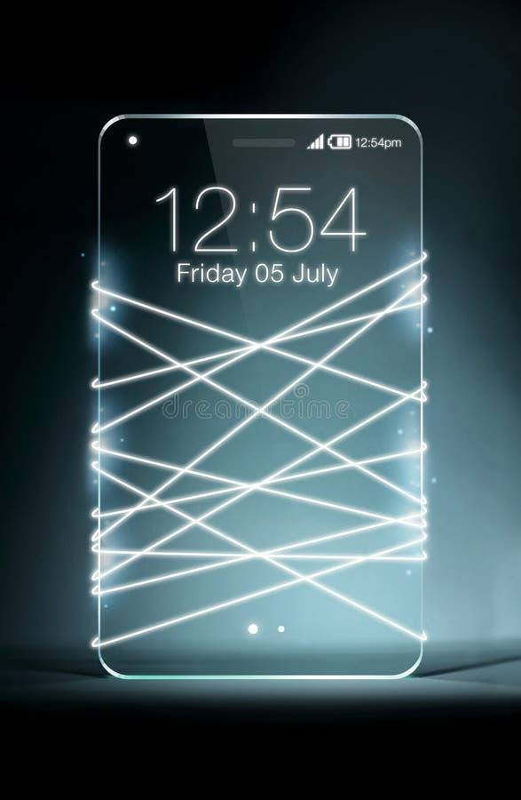 与透明智能手机的光纤散发的白光 库存图片