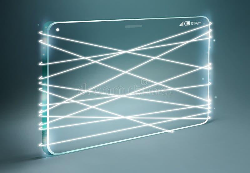 与透明智能手机的光纤散发的白光 库存照片