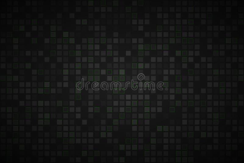 与透明正方形的黑抽象背景 库存例证