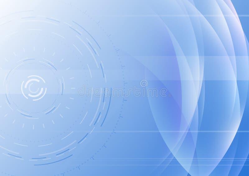 与透明波浪的高科技抽象背景 向量例证