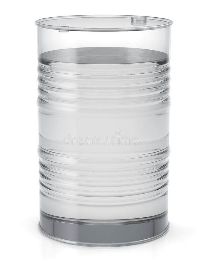 与透明液体的透明油桶 免版税图库摄影
