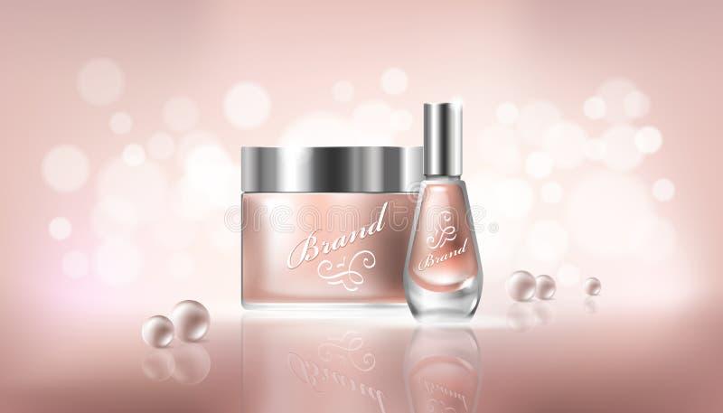 与透明玻璃化妆容器的海报化妆水、手奶油和表皮去膜剂的,指甲油 皇族释放例证