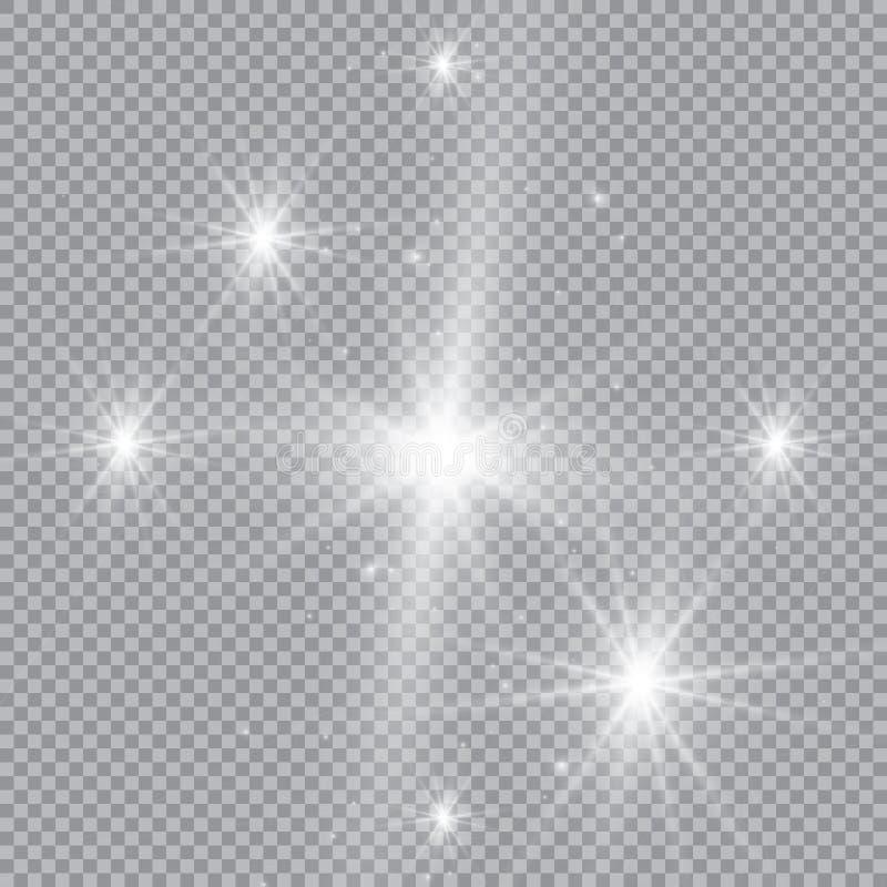 与透明的白色发光的轻的爆炸爆炸 凉快的作用装饰的传染媒介例证与光芒闪耀 明亮的sta 皇族释放例证